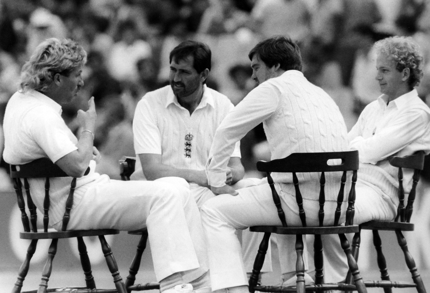Ian Botham, Graham Gooch, Mike Gatting and David Gower