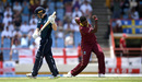 Oshane Thomas claims the wicket of Eoin Morgan, West Indies v England, 5th ODI, Barbados, March 2, 2019
