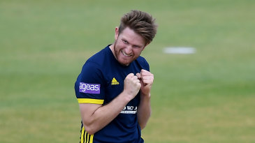 Liam Dawson celebrates another wicket for Hampshire