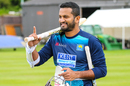 Dimuth Karunaratne shares a light moment ahead of his ODI captaincy debut, Edinburgh, May 20, 2019