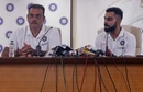 India coach Ravi Shastri and captain Virat Kohli take questions from the media before the team's departure for the World Cup, Mumbai, May 21, 2019