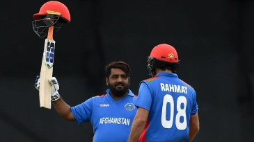 Mohammad Shahzad celebrates his hundred