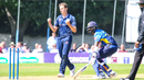 Brad Wheal celebrates after taking his third wicket of the day, Scotland v Sri Lanka, 2nd ODI, Edinburgh, May 21, 2019