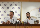 Virat Kohli and Ravi Shastri at a press conference ahead of India's departure to England, Mumbai, May 21, 2019