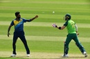 Faf du Plessis throws the ball to Isuru Udana, South Africa v Sri Lanka, warm-up match, World Cup 2019, Cardiff, May 24, 2019