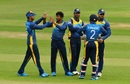 Jeevan Mendis is congratulated by his team-mates, South Africa v Sri Lanka, warm-up match, World Cup 2019, Cardiff, May 24, 2019