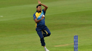 Suranga Lakmal in his delivery stride