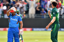 Hazratullah Zazai waves away Shaheen Afridi in the midst of crunching five boundaries in an over, Afghanistan v Pakistan, ICC World Cup warm-up, Bristol, May 24, 2019