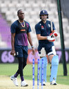 Jofra Archer and Chris Woakes in the nets at the Ageas Bowl, Southampton, May 24, 2019