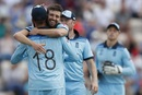 Mark Wood and Moeen Ali celebrate Aaron Finch's dismissal, England v Australia, World Cup 2019 warm-up, Southampton, May 25, 2019