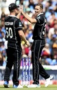 Tim Southee celebrates the dismissal of MS Dhoni with James Neesham, World Cup 2019, warm-up, The Oval, May 25, 2019