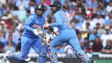 Ravindra Jadeja and Kuldeep Yadav run between the wickets during their ninth wicket partnership
