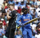 James Neesham is half embarrassed at getting Dinesh Karthik out with a leg-stump half-volley, India vs New Zealand, World Cup 2019, warm-up, The Oval, May 25, 2019