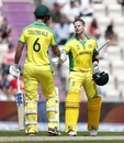 Steven Smith is congratulated by Nathan Coulter-Nile after reaching hundred, England v Australia, World Cup 2019 warm-up, Southampton, May 25, 2019