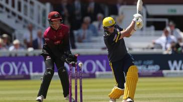 Sam Northeast was bowled hitting across the line