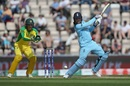Jason Roy muscles a shot through the offside with Alex Carey looking on, England v Australia, World Cup 2019 warm-up, Southampton, May 25, 2019