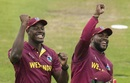 Carlos Brathwaite and Ashley Nurse sing with the crowd during a rain break, South Africa v West Indies, World Cup 2019 warm-up, Bristol, May 26, 2019