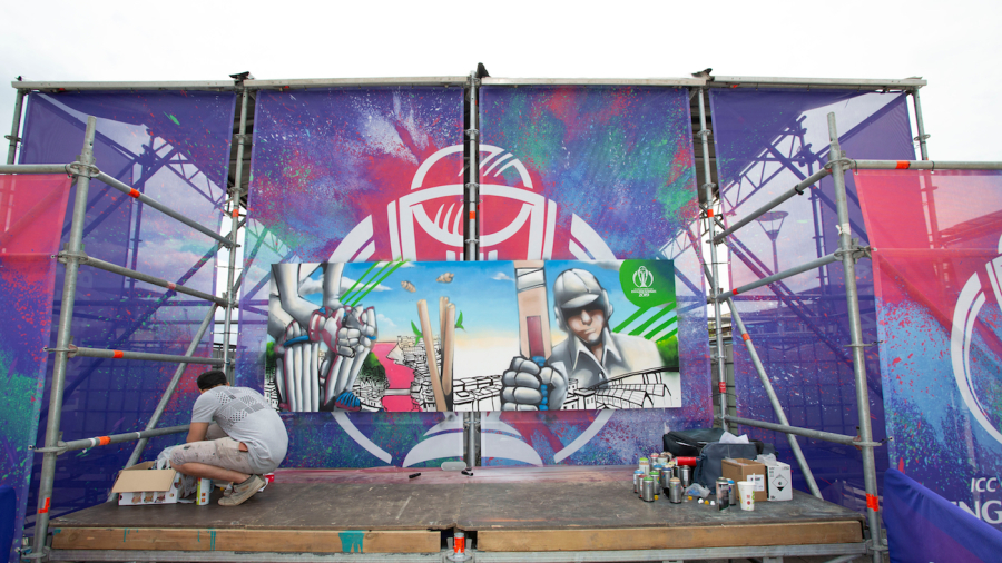 Showcase public events have been a big part of this World Cup, such as this community painting project in Bristol