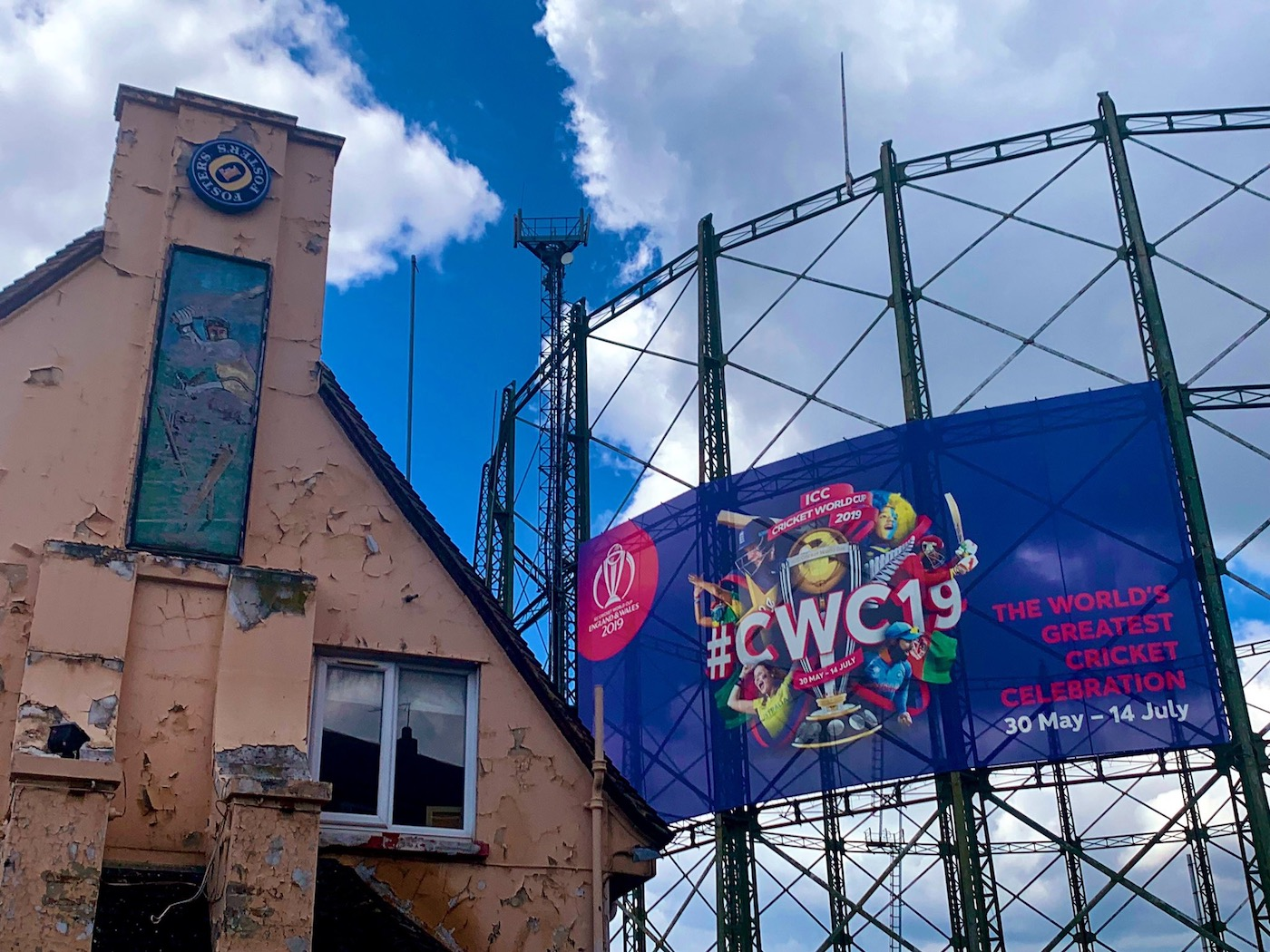 Ring out the old, ring in the new: the gasometers at the Oval get in on the World Cup action, while an old cricket-themed pub awaits resurrection