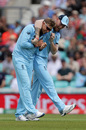 Joe Root celebrates a wicket with Ben Stokes, England v Afghanistan, World Cup 2019, warm-ups, The Oval, May 27, 2019