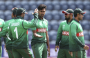 Mustafizur Rahman is congratulated after he struck early, Bangladesh v India, World Cup 2019 warm-up, Cardiff, May 28, 2019