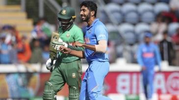 Jasprit Bumrah celebrates a wicket
