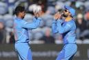 Kuldeep Yadav and Virat Kohli celebrate a wicket, Bangladesh v India, World Cup 2019 warm-up, Cardiff, May 28, 2019