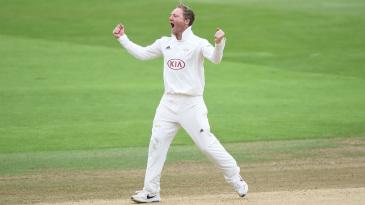 Gareth Batty celebrates a breakthrough
