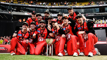 Finch and the rest of the Melbourne Renegades with their BBL trophy earlier this year
