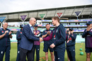 Eoin Morgan is presented his 200th ODI cap for England by Andrew Strauss, England v South Africa, World Cup 2019, The Oval, May 30, 2019