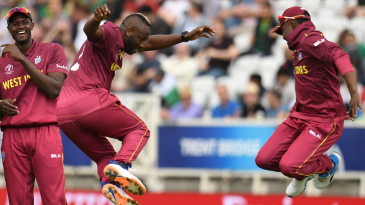 Jason Holder has a laugh as Andre Russell and Darren Bravo have some fun
