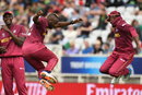 Jason Holder has a laugh as Andre Russell and Darren Bravo have some fun, Pakistan v West Indies, World Cup 2019, Trent Bridge, May 31, 2019