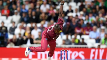Andre Russell in his delivery follow-through