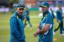 Justin Langer talks to Ricky Ponting at an Australia practice session, World Cup 2019, Bristol, May 30, 2019