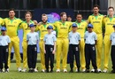 Australian players sing their national anthem before the match, Afghanistan v Australia, World Cup 2019, Bristol, June 1, 2019
