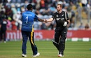 Martin Guptill shakes hands with Thisara Perera, New Zealand v Sri Lanka, World Cup 2019, Cardiff, June 1, 2019