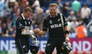 Colin Munro and Martin Guptill celebrate victory in their World Cup opener, New Zealand v Sri Lanka, World Cup 2019, Cardiff, June 1, 2019