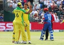 Marcus Stoinis celebrates Gulbadin Naib's wicket with teammates, Afghanistan v Australia, World Cup 2019, Bristol, June 1, 2019