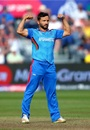 Gulbadin Naib celebrates dismissing Aaron Finch, Afghanistan v Australia, World Cup 2019, Bristol, June 1, 2019