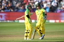 David Warner and Steven Smith in a mid-innings discussion, Afghanistan v Australia, World Cup 2019, Bristol, June 1, 2019