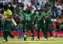 Mustafizur Rahman celebrates with his teammates after taking JP Duminy's wicket, Bangladesh v South Africa, World Cup 2019, The Oval, June 2, 2019