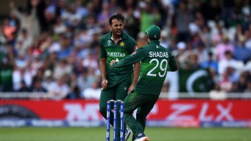 Wahab Riaz celebrates Jonny Bairstow's wicket
