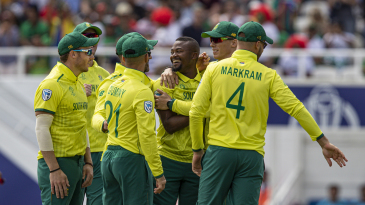 South Africa debuted sported their yellow away kit for their second match, against Bangladesh, while they played their first match, against England, in their green home jerseys