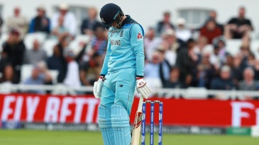 Joe Root is dejected after getting out on 107