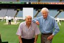Former Australian cricketers Colin Mc Donald, left, and George Thoms, January 23, 2002