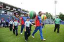 Gulbadin Naib leads his team out, Afghanistan v Sri Lanka, World Cup 2019, Cardiff, June 4, 2019