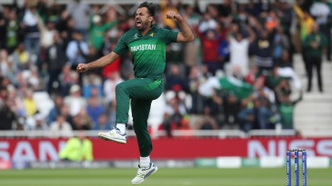 Wahab Riaz is pumped up after taking a wicket
