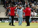 S Ravi and Marais Erasmus having a word with Eoin Morgan, England v Pakistan, World Cup 2019, Trent Bridge, June 3, 2019