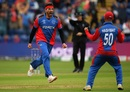 Hamid Hassan celebrates after removing Dhananjaya de Silva, Afghanistan v Sri Lanka, World Cup 2019, Cardiff, June 4, 2019