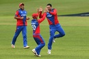 Mohammad Nabi celebrates a wicket, Afghanistan v Sri Lanka, World Cup 2019, Cardiff, June 4, 2019